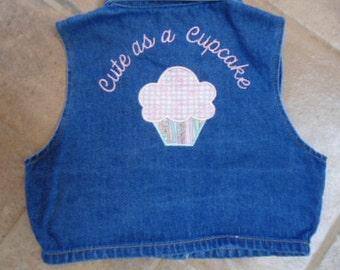 Cute as a Cupcake Applique's Little Girl's Vest
