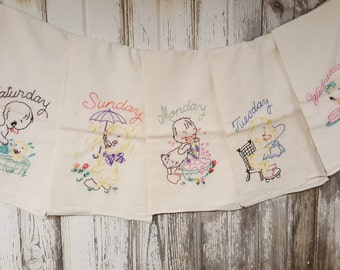 VIntage Cotton Hand Embroidered Kitchen Tea Towels Little Ducky Tea Towels Days of the Week