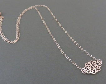 Rose Gold Filigree Necklace, layering necklace, delicate, rose gold filigree, layered, minimalist necklace, rose gold jewelry, rose gold min