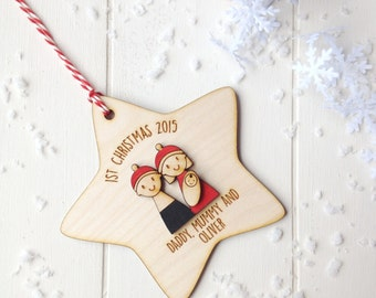 Family's First Christmas Tree Decoration - Personalised tree decoration - family gift