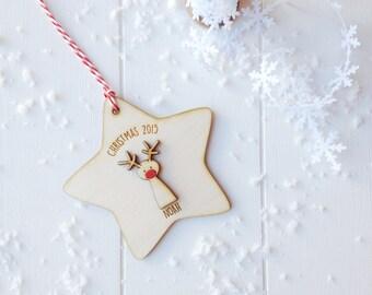 Personalised Rudolf Christmas Tree Decoration
