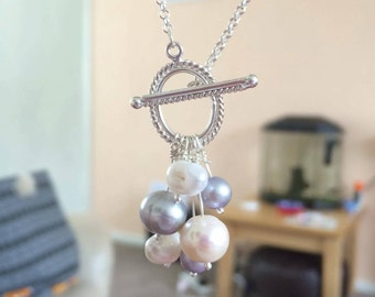 Pearl Stering Silver Toggle Clasp Necklace