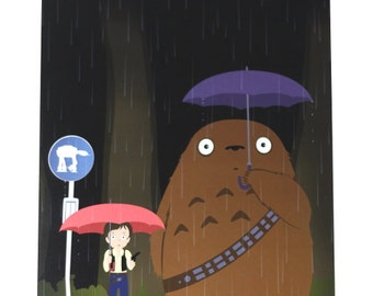 My Neighbour Totoro as Chewbacca and Han Solo from Star Wars. A4 signed print by Danny J Weston. Nerdist feature!