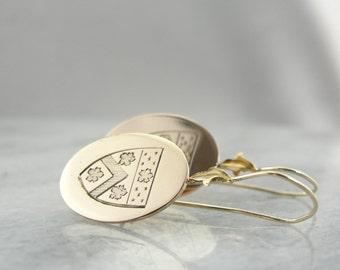 Unique Family Crest Drop Earrings with Crisp Lines Z6U0A3-P