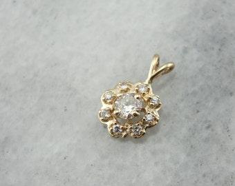 Diamond Flower Pendant, Vintage Sweetheart Jewelry  9DQEKT-P