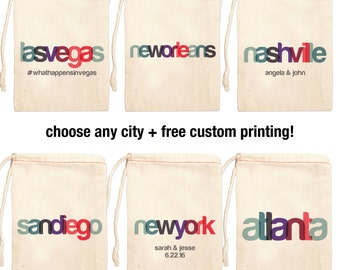 Destination Wedding Favor Bags | Custom Wedding Favor Bags | City Bags for Wedding | Canvas Wedding Favor Bags | Nashville Wedding