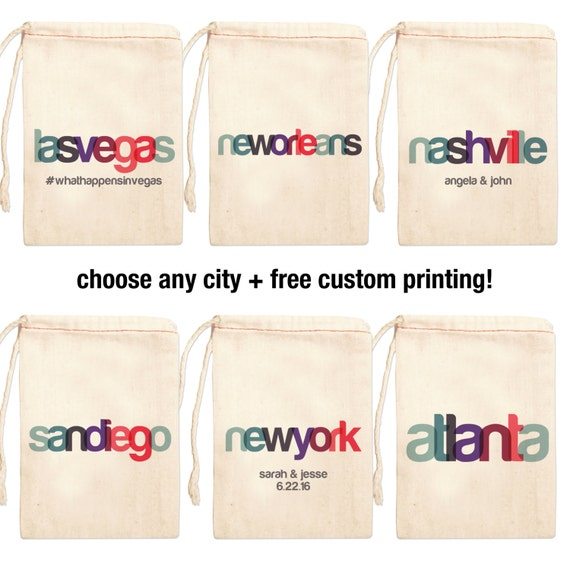 Wedding Favor Bags Custom Wedding Favor Bags City Bags for Wedding ...