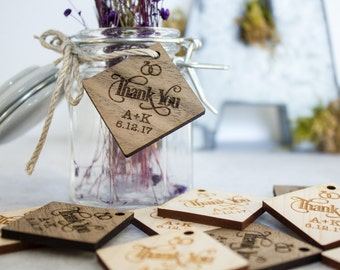 Diamond Wood Tags, Wedding Favor Tags, Thank You Tags, Table Decorations, Personalized Tags, Gift Bag Tags
