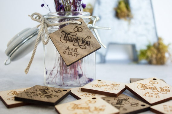 Wedding Favor Tags Diamond : Diamond Wood Tags, Wedding Favor Tags, Thank You Tags, Table ...