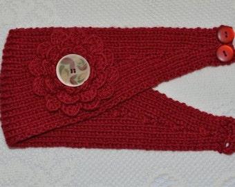 Merino Wool Cashmere Hand Knit Headband / Ear Warmer in Deep Red (Item #74)