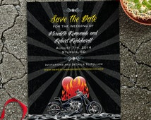 Burning Love Biker Motorcycle Save the Date Announcement, Printable, Evite or Printed (US Only) Invitations
