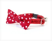 "Bow Tie Cat Collar Set - ""Superstar"" -  Red Polka Dot Detachable Bow Tie + Red Sparkle Collar - Valentine's Day"