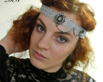 1920 Headpiece  Black Grey  Headband 1920's Hair Band Flapper  Headpiece Boho Gatsby Headpiece  Prom Headband Prom Headpiece