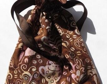 Batik Coffee Themed Lined Drawstring Fabric Gift Bag