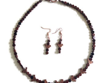 Necklace and Earrings Mahogany Obsidian and Copper