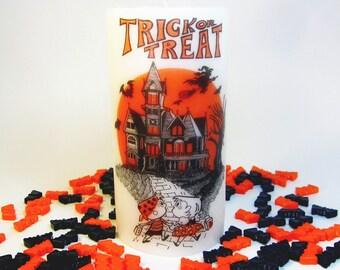Retro Halloween Art, Halloween Candles, Trick or Treat Halloween Decor, Halloween House, Haunted House, Black Orange Vintage Halloween,