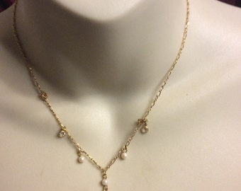 Vintage 1928 crystal simulated pearls drop dangle wedding necklace
