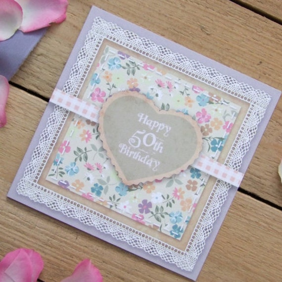 Lilac 50th Birthday Country Garden Card