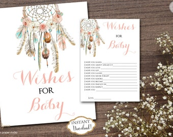 INSTANT DOWNLOAD - Dream Catcher Floral Dreamcatcher Wishes for the baby Sign - Boho Baby Shower - Floral Shower - Advice for Mom - 0332
