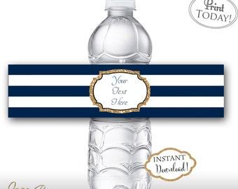 INSTANT DOWNLOAD - Navy Stripe Gold Glitter Water Bottle Labels - Editable Water Bottle Label - DIY Labels - 0126 - 0147 - 0127 - 0170