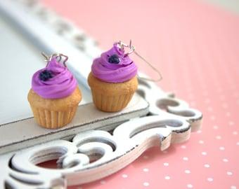 Cupcake earrings, purple polymer clay dangle earrings, kawaii style cupcakes