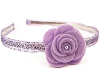 Purple Felt Flower Headband/ Purple Pearl Headband/ Glitter Headband/ Girl Headband/ Lilac Flower Headband/ Flower Girl Headband
