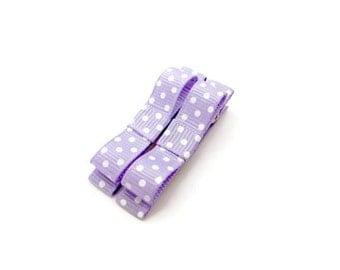 Purple Polka Dot Hair Clips/ Children Hair Cips/ Girl Hair Clips/ Kids Alligator Clips/ Lilac Hair Clips/ Pastel Hair Clips