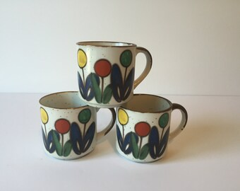 Vintage Flower Stoneware Mugs, Flower Coffee Cups, Mid Century Floral Mugs, Stoneware Cups, Set of Three, Made in Japan