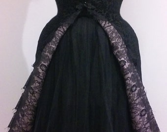 Black avant garde dress/jacket with padded tulle skirt - Couture amazing vintage style