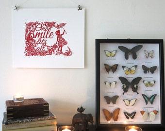 Silk screen print quote One smile fits all - Hand pulled screenprint of original paper cut - Print of Papercutting art - Nursery art
