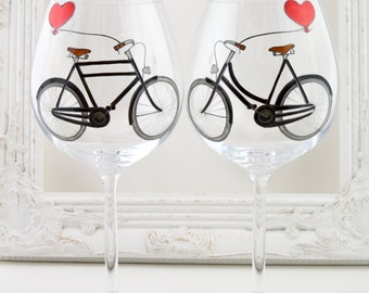 Bicycle Lovers Crystal Wine Goblets