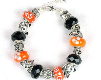 Happy Halloween, Halloween Jewelry, Jewelry Bracelet. Orange And Black Halloween Bracelet