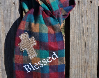 Plaid Cashmere Feel Scarf with Burlap Cross