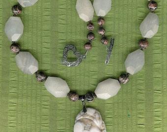 Pure Hearts - Ocean Jasper Heart Pendant, White Jade, Painting Jasper, Garnet, Sterling Silver Necklace