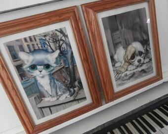 1968, Big Eyed Cat, Print by GIG, Wood Frame