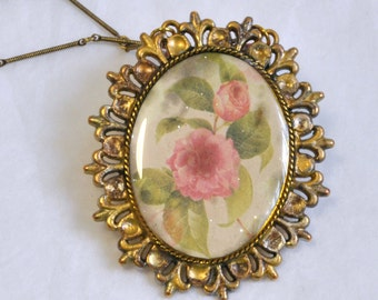 Twinkle Rose Antique Style Pendant Necklace