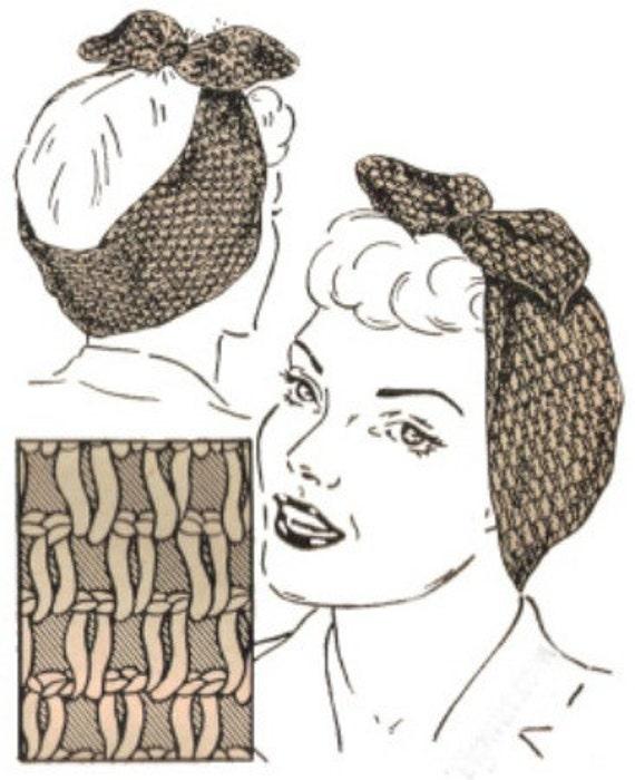 Vintage Rosie Riveter Crochet Pattern Turban Head 1940s WW II Digital Download