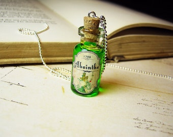 Absinthe Glass Bottle Necklace Charm - Green Fairy Cork Vial Pendant - Halloween Alcohol