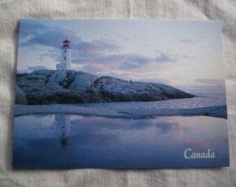 PEGGY'S COVE POSTCARD,Peggy's Cove Lighthouse Postcard,Nova Scotia Postcard,Vintage 1983 Postcard,Canadian Postcard,Ephemera,Photograph Card