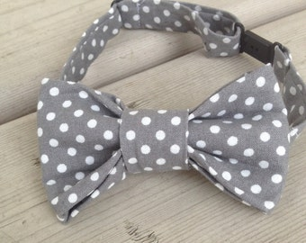 Grey and White Polka Dot Adjustable Bow Tie for Toddlers and Boys