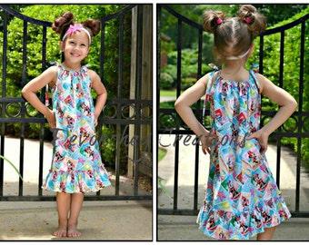 MINNIE Hawaiian Dress; Luau Dress; Disney Cruise Dress; MuuMuu; Pillowcase Dress; Infants, Toddlers, Girls; Minnie Summertime Fabric