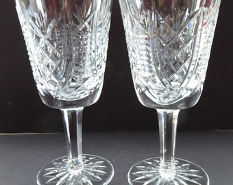 Large PAIR Waterford Crystal GOBLETS: CLARE Pattern. Largest Size Vintage Water / Wine Glasses. Three Pairs Available