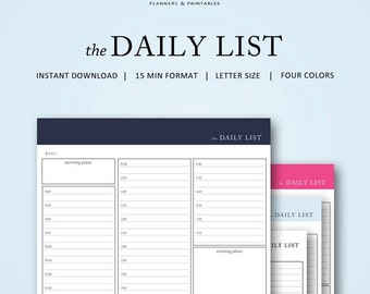 the Daily To Do List | 15 min | Instant Download