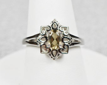 Sterling Silver Genuine Lemon Quartz and Diamond Accented Ring