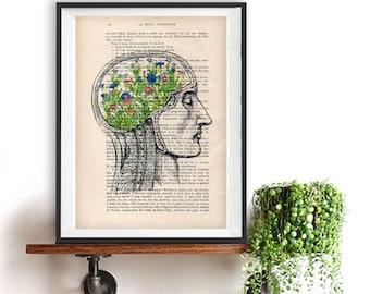 Flower Brains Digital Print on 1900 vintage page, Christmas gift, Anatomy Illustration, human anatomy art, Halloween, anatomy drawing