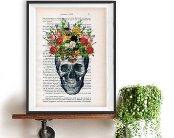 Skull Flower Print, vintage drawing, book art, day of the death, crown art, vintage art print, wall art, Halloween, gift for him, gothic