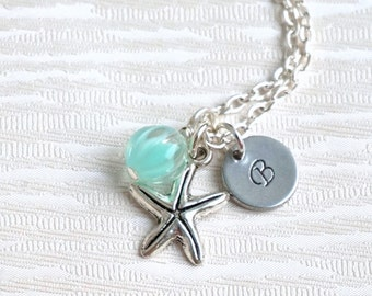 Starfish Bridesmaid necklaces Set of 5, Personalized Bridesmaids Jewelry Set of 5, Beach weddings, 5 Initial Necklaces, Monogram Necklaces