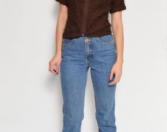 Vintage 90's Brown Fuzzy Cropped Zipper Top