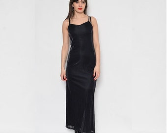 Vintage 90's Metallic Maxi Slip Dress / Iridescent Maxi Sleeveless Dress / Criss Cross MAxi Dress / Black Strappy Dress