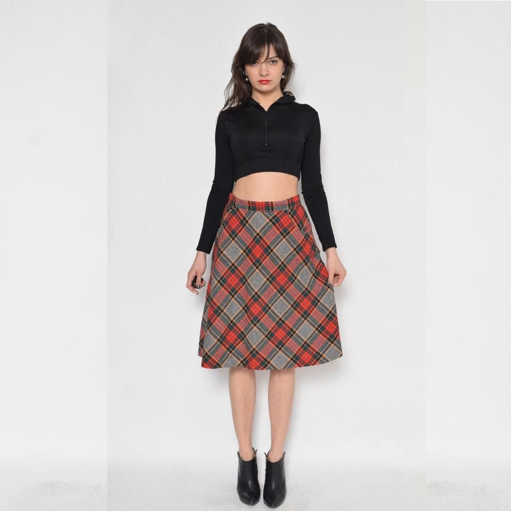 vintage 80 s tartan midi skirt high waist plaid skirt